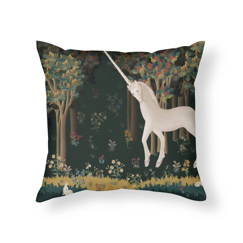 Unicorn and Bunnies in Landscape Home Throw Pillow by LiftYourWorld's Artist Shop