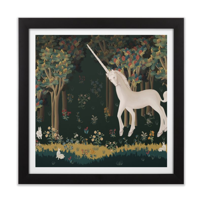 Unicorn and Bunnies in Landscape Home Framed Fine Art Print by LiftYourWorld's Artist Shop