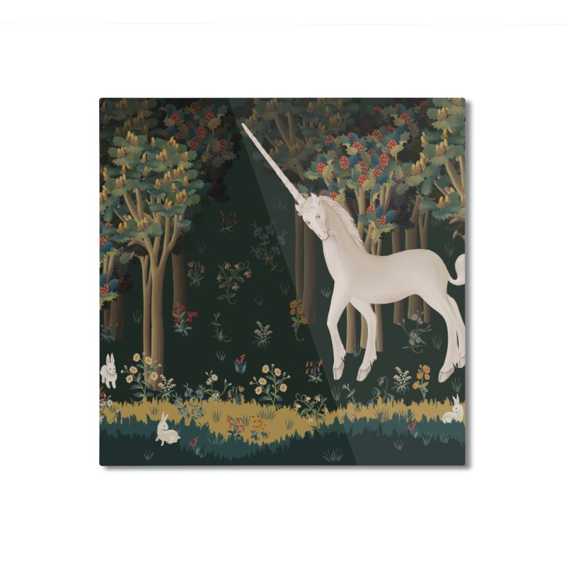 Unicorn and Bunnies in Landscape Home Mounted Aluminum Print by LiftYourWorld's Artist Shop