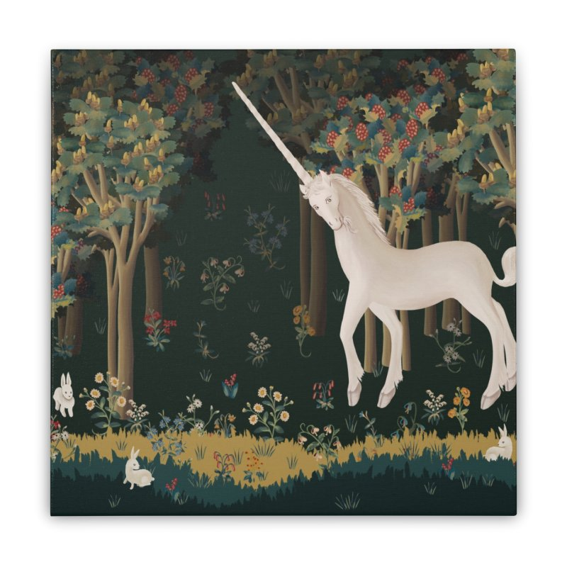 Unicorn and Bunnies in Landscape Home Stretched Canvas by LiftYourWorld's Artist Shop
