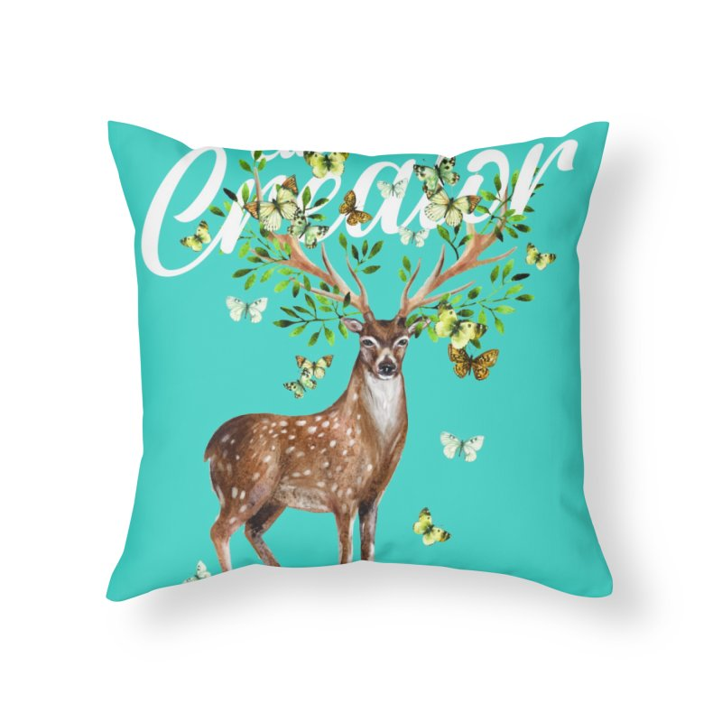 Culture Creator with Deer Home Throw Pillow by LiftYourWorld's Artist Shop