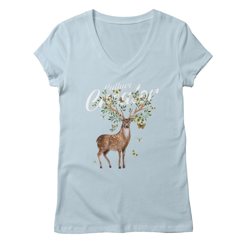 Culture Creator with Deer Women's V-Neck by LiftYourWorld's Artist Shop