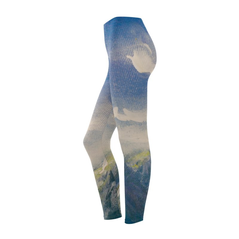 Blueish-Green Mountains and Flooshy Clouds Leggings Women's Bottoms by LiftYourWorld's Artist Shop