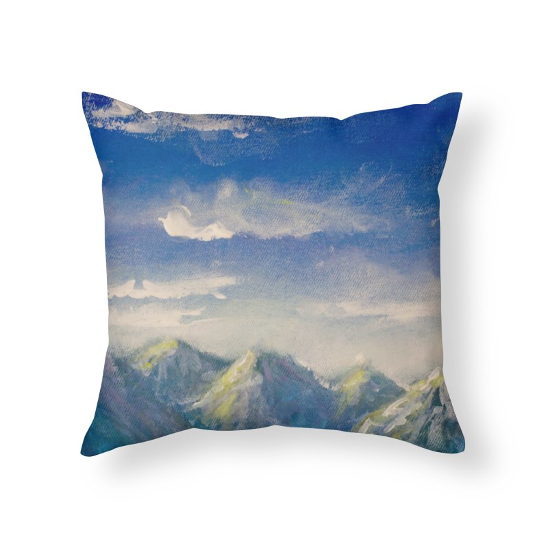 Blueish-Green Mountains and Flooshy Clouds Leggings Home Throw Pillow by LiftYourWorld's Artist Shop