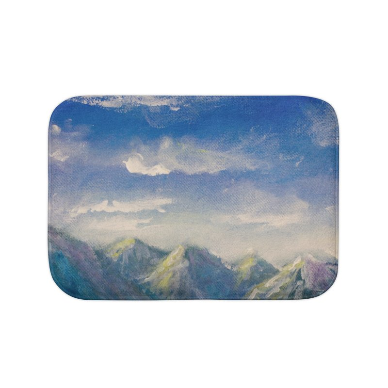 Blueish-Green Mountains and Flooshy Clouds Leggings Home Bath Mat by LiftYourWorld's Artist Shop