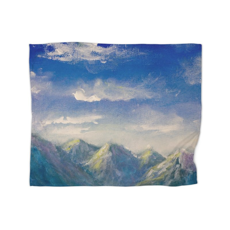 Blueish-Green Mountains and Flooshy Clouds Leggings Home Blanket by LiftYourWorld's Artist Shop