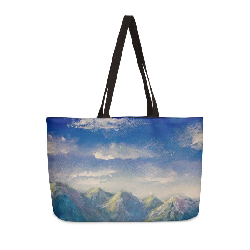 Blueish-Green Mountains and Flooshy Clouds Leggings Accessories Bag by LiftYourWorld's Artist Shop
