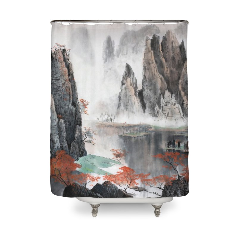Asian Mountain Leggings Home Shower Curtain by LiftYourWorld's Artist Shop