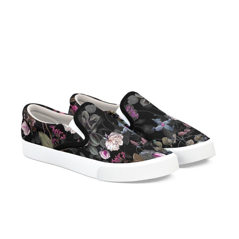 Purple flowers on black Shoes Men's Shoes by LiftYourWorld's Artist Shop