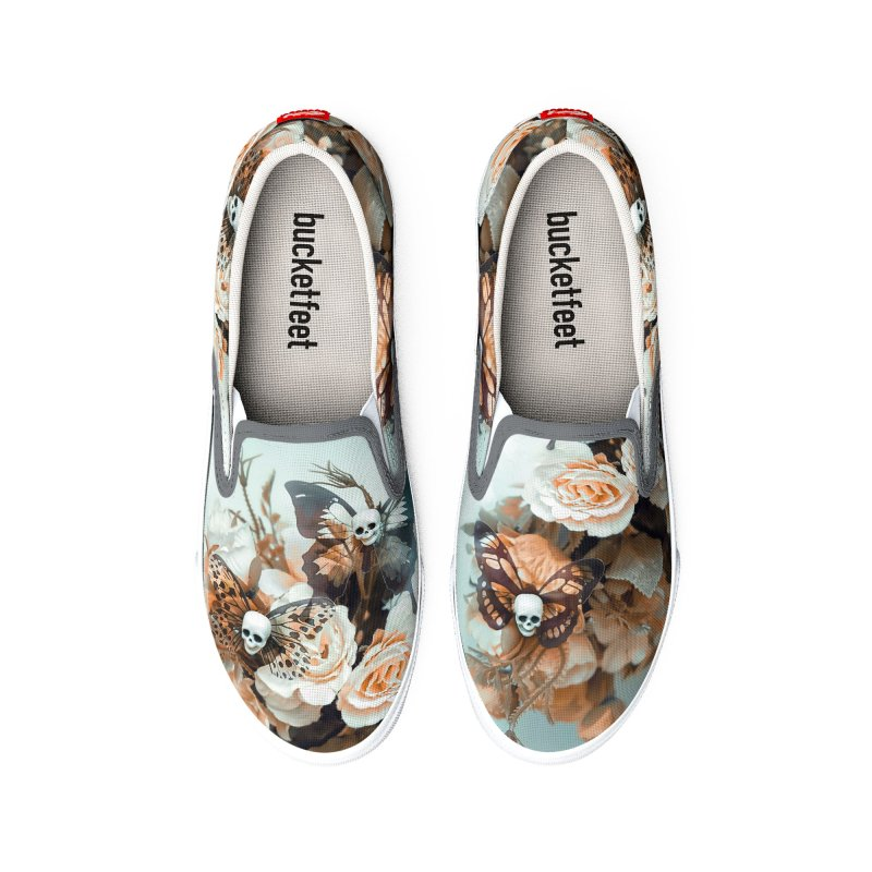 Skull Butterflies Teal and Peach Men's Shoes by LiftYourWorld's Artist Shop