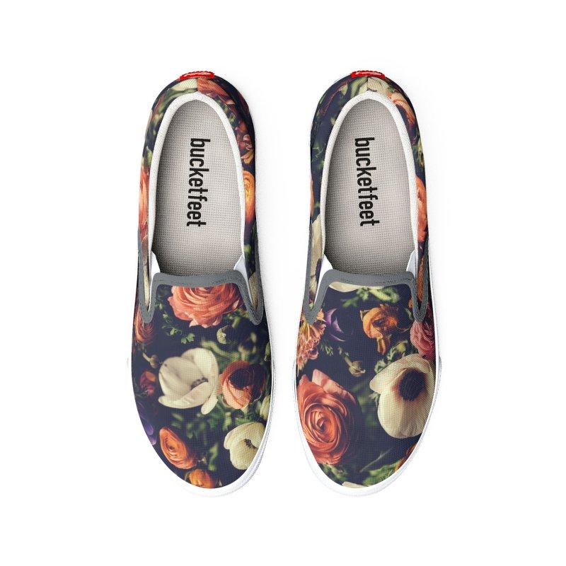 Flower Shoes - Peach, White, Purple Men's Shoes by LiftYourWorld's Artist Shop