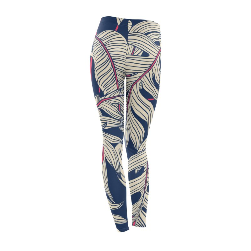 Blue and Pink Palm Leggings Women's Bottoms by LiftYourWorld's Artist Shop