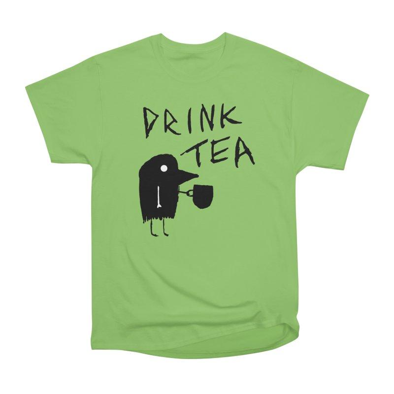 Drink Tea Women's Heavyweight Unisex T-Shirt by The Little Fears