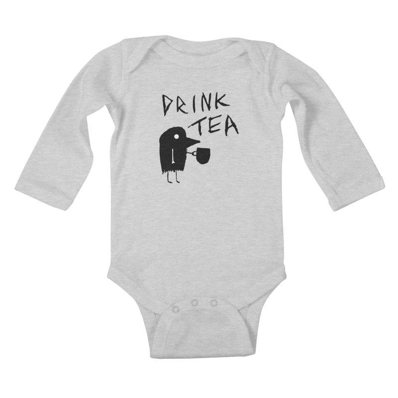 Drink Tea Kids Baby Longsleeve Bodysuit by The Little Fears