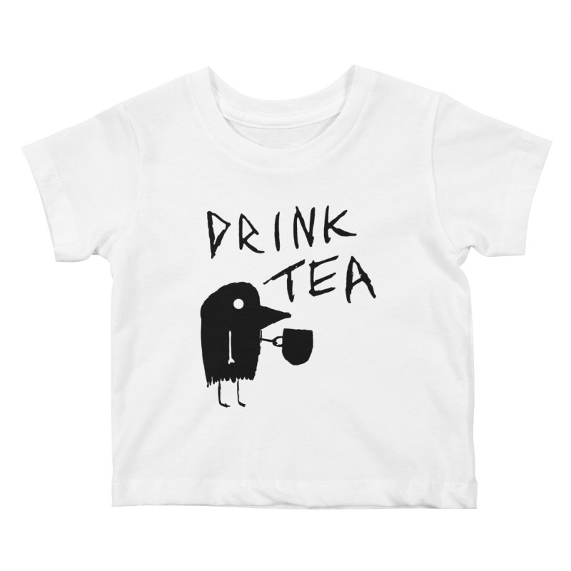 Drink Tea Kids Baby T-Shirt by The Little Fears