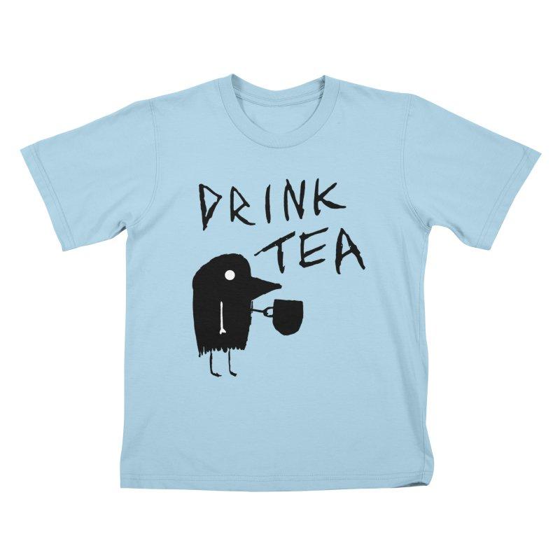 Drink Tea Kids T-Shirt by The Little Fears