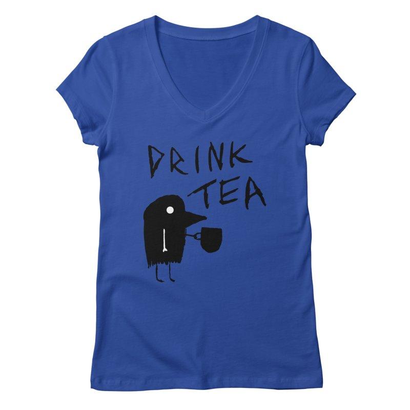 Drink Tea Women's Regular V-Neck by The Little Fears