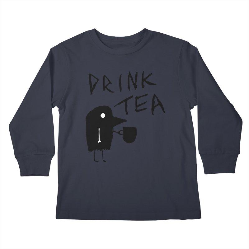Drink Tea Kids Longsleeve T-Shirt by The Little Fears