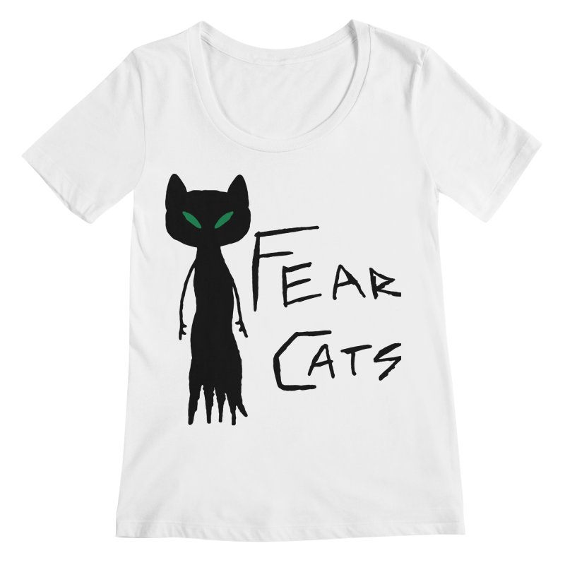 Fear Cats Women's Regular Scoop Neck by The Little Fears