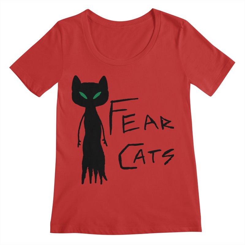 Fear Cats Women's Regular Scoop Neck by The Little Fears