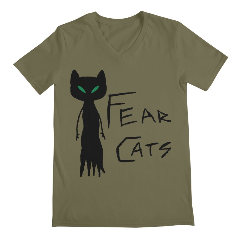 Fear Cats Men's Regular V-Neck by The Little Fears