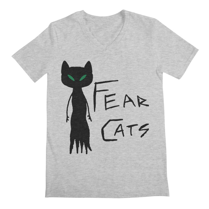 Fear Cats Men's Regular V-Neck by The Little Fears