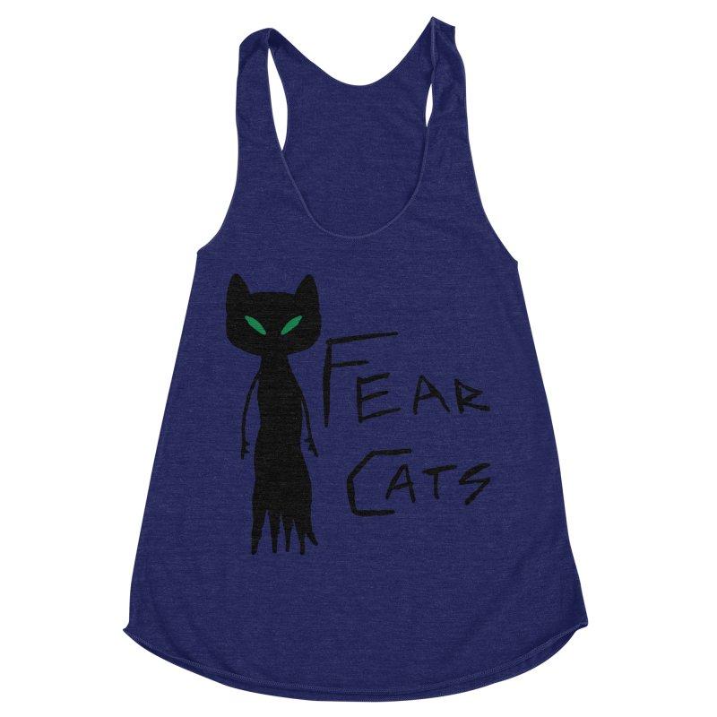 Fear Cats Women's Racerback Triblend Tank by The Little Fears