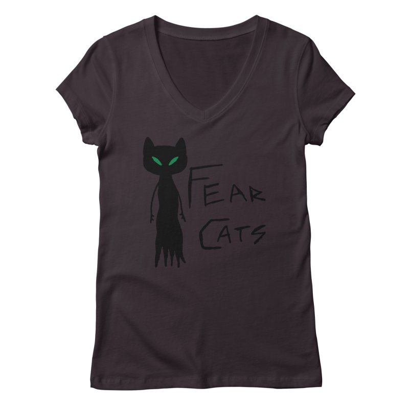 Fear Cats Women's Regular V-Neck by The Little Fears