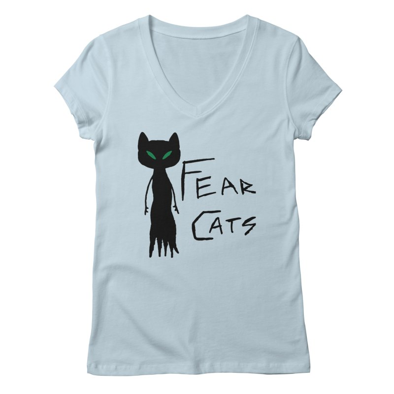 Fear Cats Women's Regular V-Neck by The Little Fears