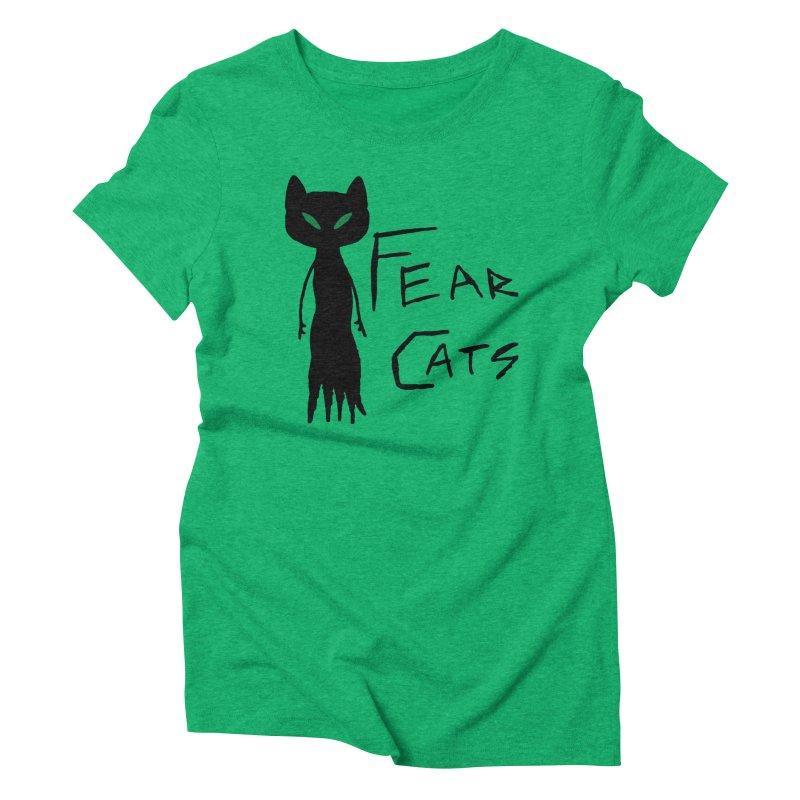 Fear Cats Women's Triblend T-Shirt by The Little Fears
