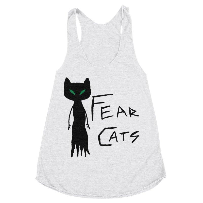 Fear Cats Women's Racerback Triblend Tank by The Little Fears