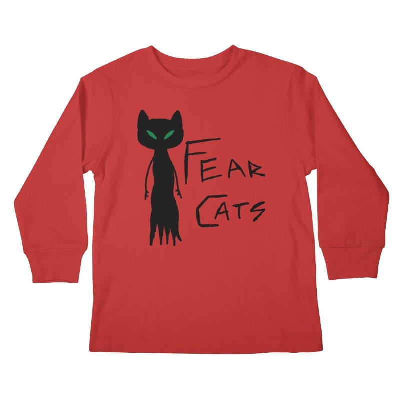 Fear Cats Kids Longsleeve T-Shirt by The Little Fears