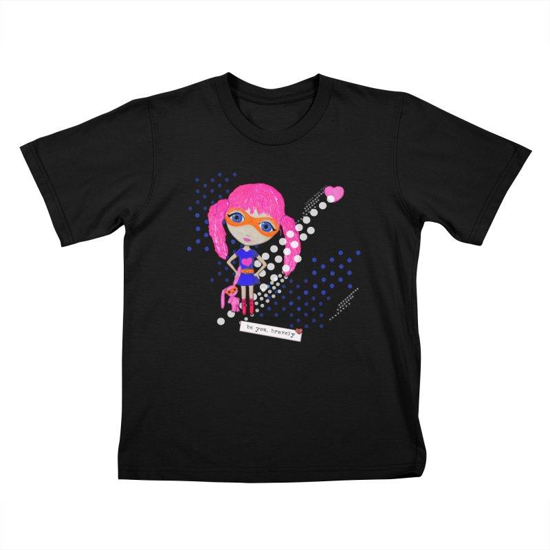 Bravely, She Took On The World Kids T-Shirt by LittleMissTyne's Artist Shop