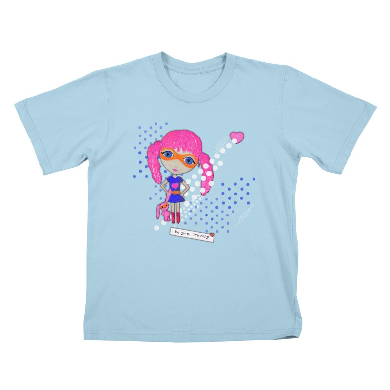 Bravely, She Took On The World Kids T-Shirt by LittleMissTyne's Artist Shop