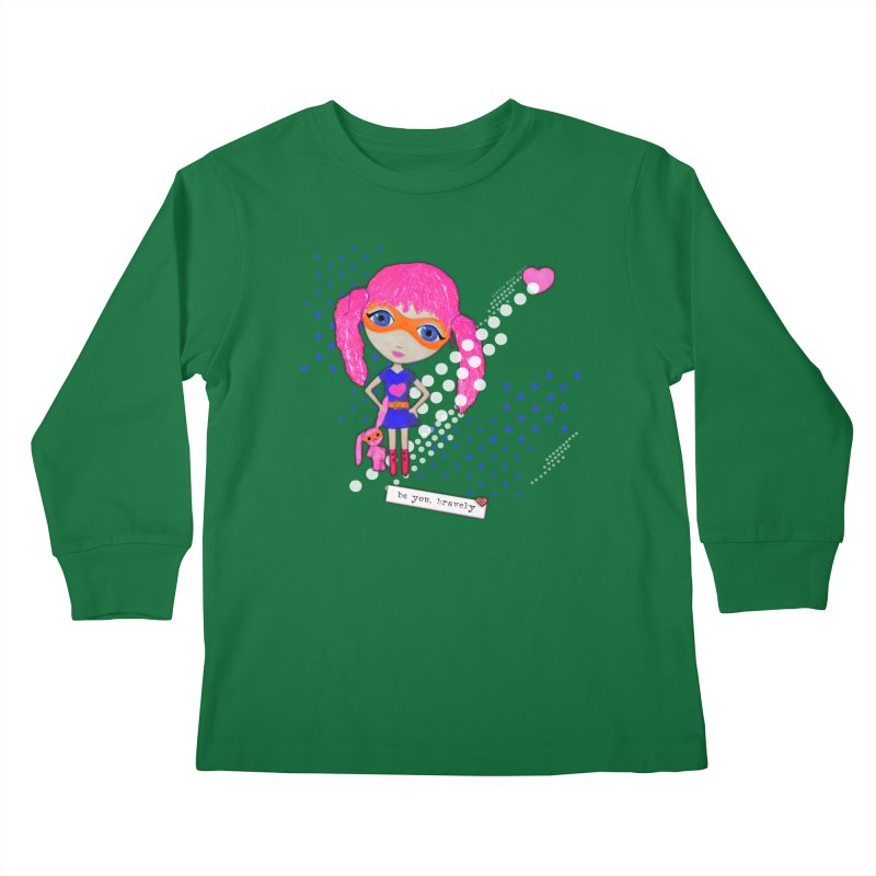 Bravely, She Took On The World Kids Longsleeve T-Shirt by LittleMissTyne's Artist Shop