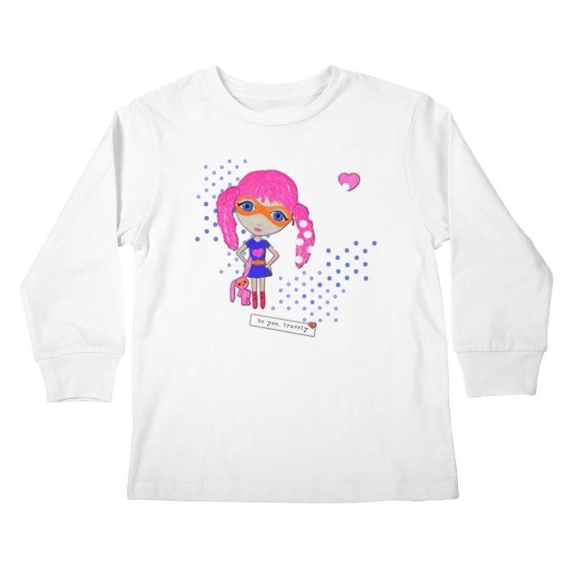 Bravely, She Took On The World Kids Longsleeve T-Shirt by LittleMissTyne's Artist Shop