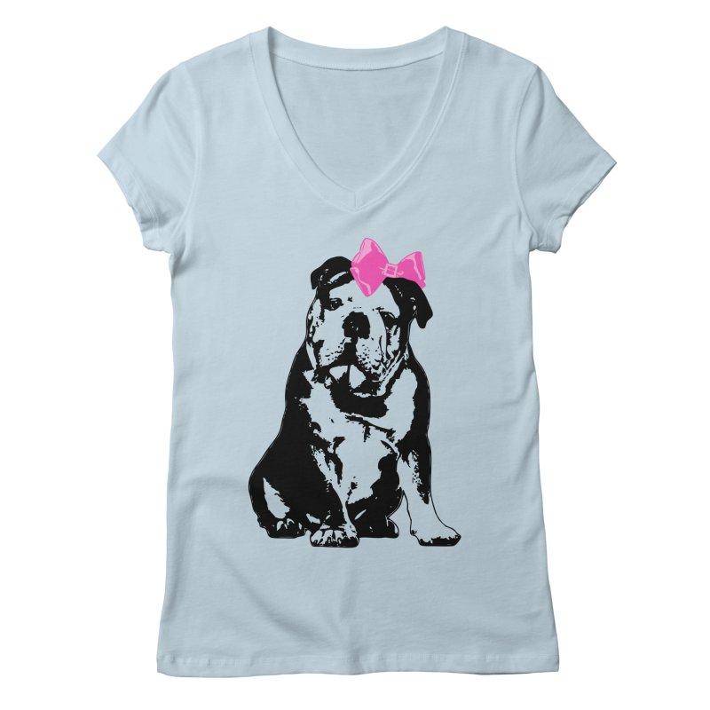 Betty Bulldog Women's V-Neck by LittleMissTyne's Artist Shop