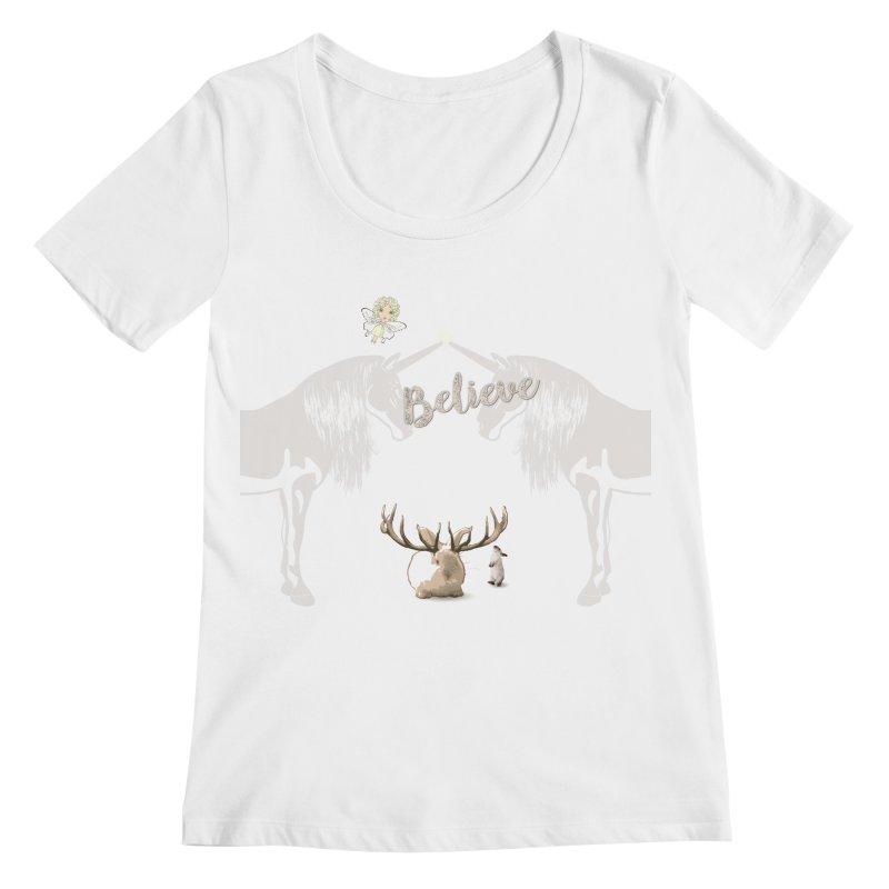 Believe In The Mythical - 2 Women's Regular Scoop Neck by LittleMissTyne's Artist Shop