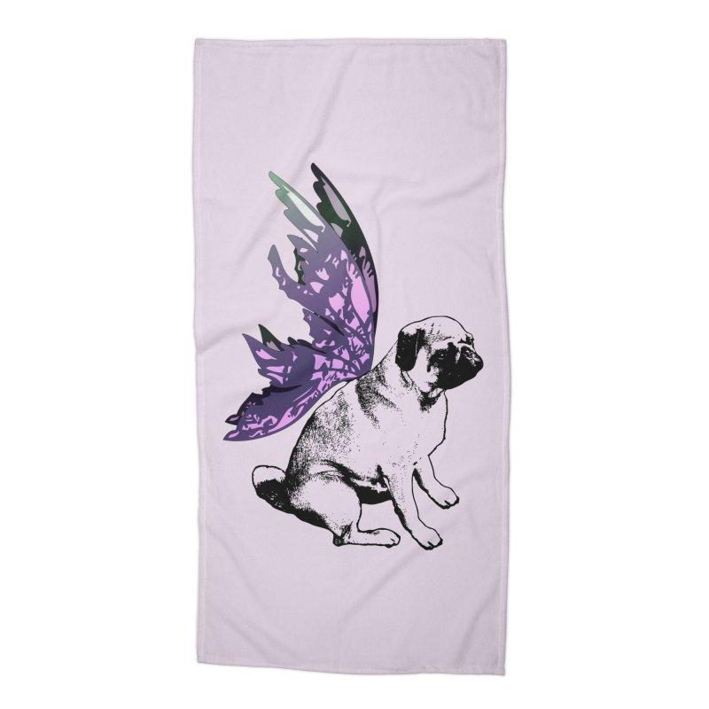 Pug Fairy Life Accessories Beach Towel by LittleMissTyne's Artist Shop