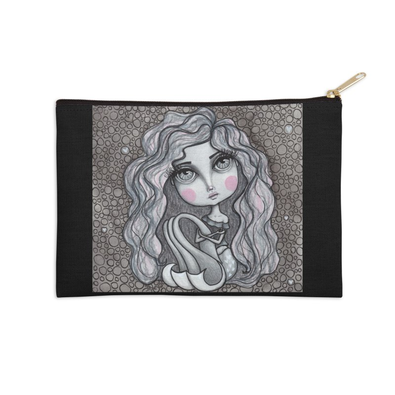 Doodle Mermaid 3 of 4 Accessories Zip Pouch by Little Miss Tyne's Artist Shop