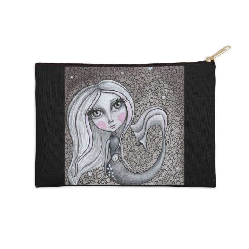 Doodle Mermaid 4 of 4 Accessories Zip Pouch by Little Miss Tyne's Artist Shop