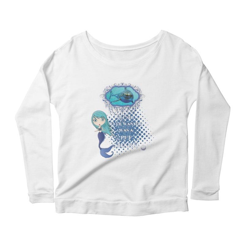 All She Ever Wanted Was A Pet Shark Women's Scoop Neck Longsleeve T-Shirt by LittleMissTyne's Artist Shop