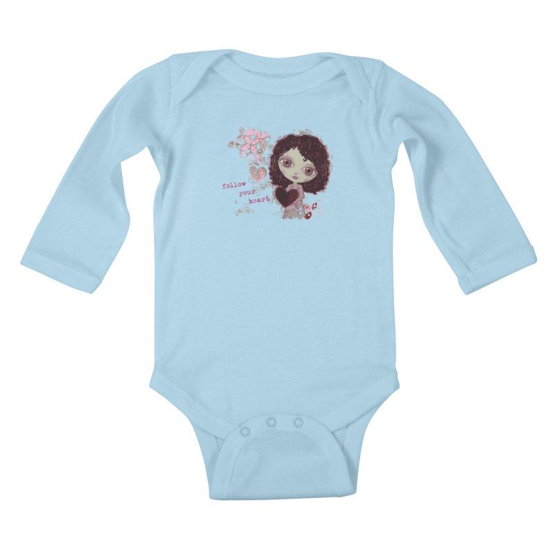 Follow Your Heart Kids Baby Longsleeve Bodysuit by LittleMissTyne's Artist Shop