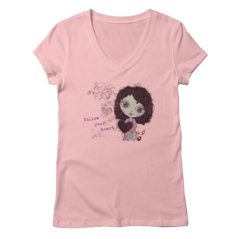 Follow Your Heart Women's Regular V-Neck by LittleMissTyne's Artist Shop