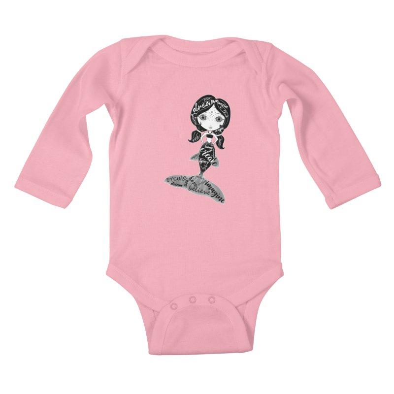 Believe In The Reality Of Your Dreams Kids Baby Longsleeve Bodysuit by LittleMissTyne's Artist Shop