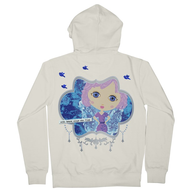 With Brave Wings She Flies Men's French Terry Zip-Up Hoody by LittleMissTyne's Artist Shop