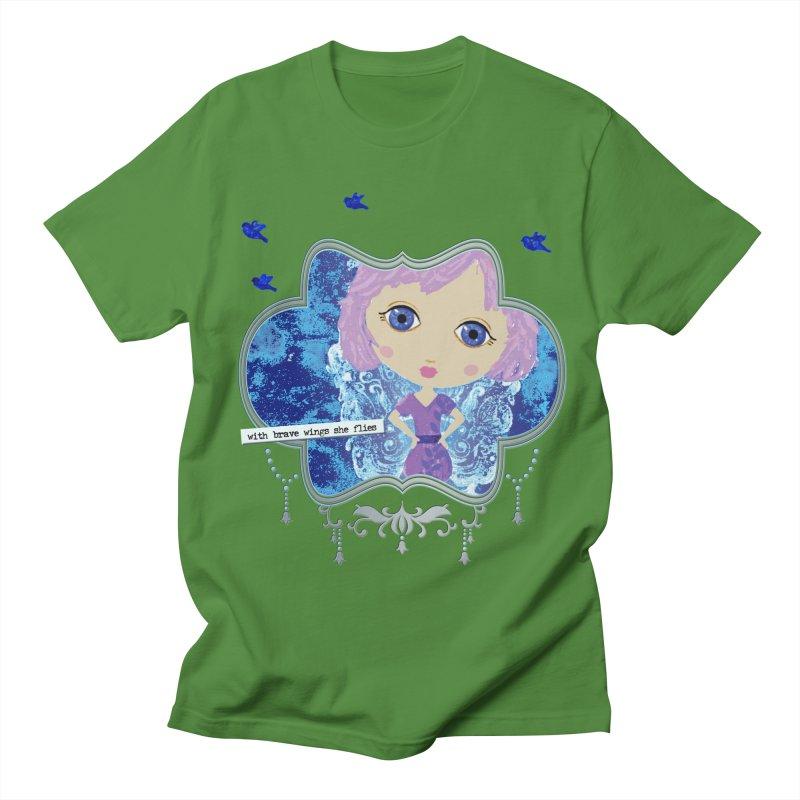 With Brave Wings She Flies Women's Regular Unisex T-Shirt by LittleMissTyne's Artist Shop