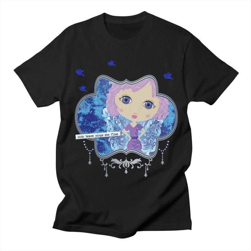 With Brave Wings She Flies Men's Regular T-Shirt by LittleMissTyne's Artist Shop