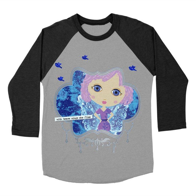 With Brave Wings She Flies Men's Baseball Triblend Longsleeve T-Shirt by LittleMissTyne's Artist Shop