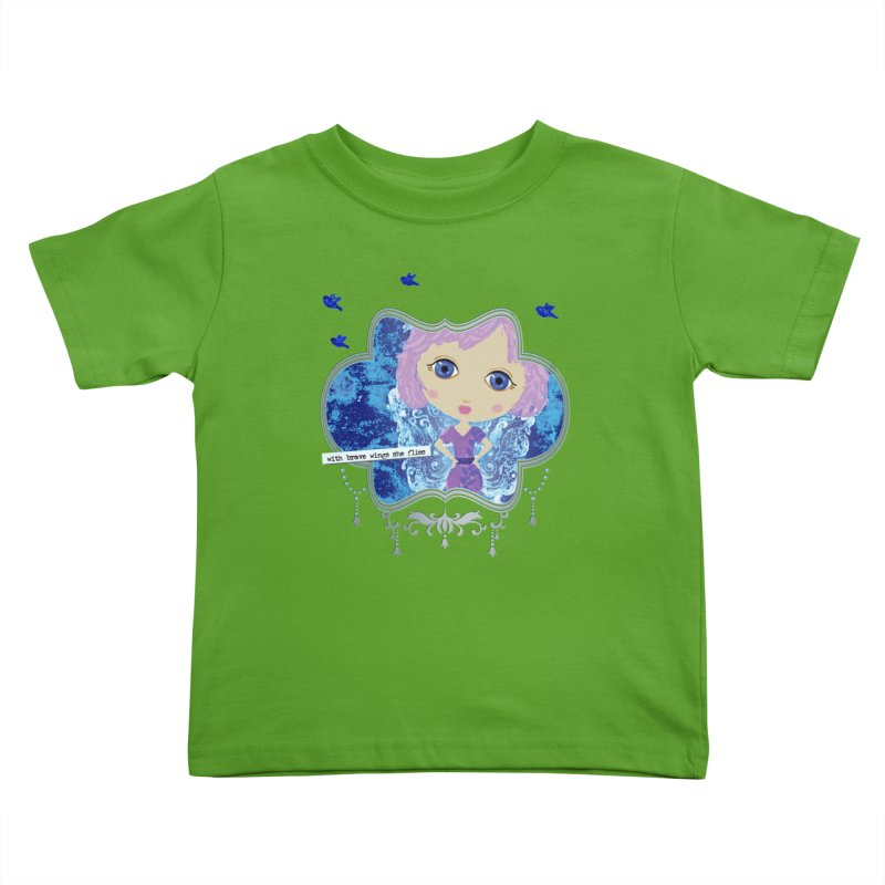 With Brave Wings She Flies Kids Toddler T-Shirt by LittleMissTyne's Artist Shop